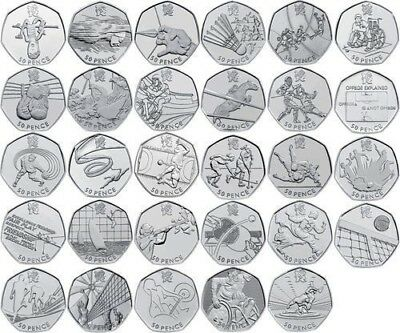 50p Fifty Pence Coins British Coin Hunt Rare Royal Mint Circulated Olympic • 0.99£