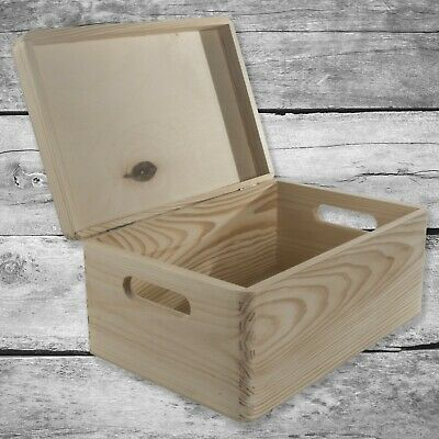 Plain Wooden Storage Box Basket With Handles, Hinged Lid / Pinewood Craft Trunk • 12.95£