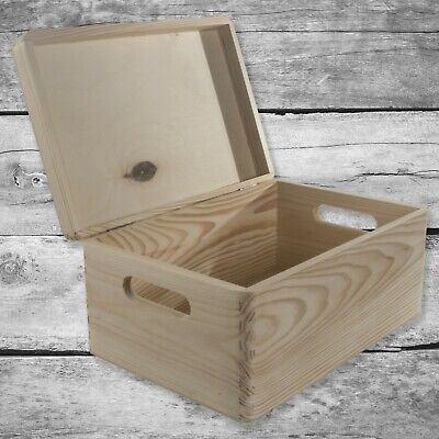 Plain Wooden Storage Box Basket With Handles, Hinged Lid / Pinewood Craft Trunk • 13.95£