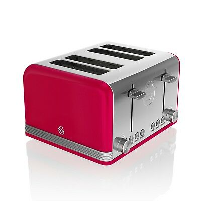£56.95 • Buy Swan 4 Slice Retro Red Stainless Steel Bread Loaf Toast Toaster Defrost Reheat