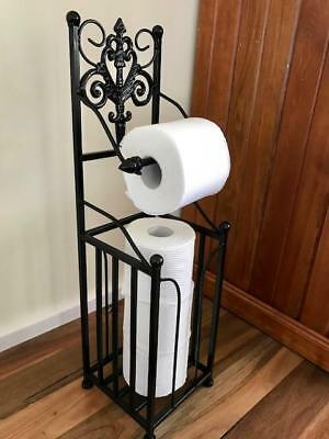 AU48 • Buy Elegant Iron French Style Toilet Paper Roll Holder Stand With Storage BLK HYL018