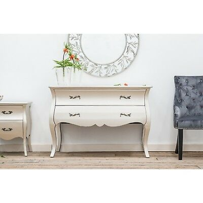 £329 • Buy Large Rococo Style Matt Silver Storage Furniture Bedroom Wooden 2 Drawer Chest