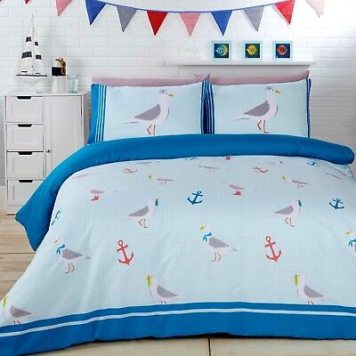 Rapport Seagulls Anchor Nautical Reversible Duvet Cover Bedding Set Blue • 12.99£