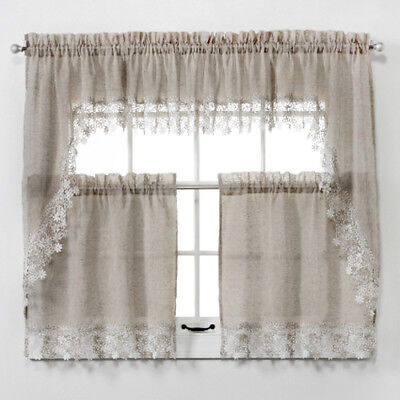 $10.97 • Buy NEW  Lillian Faux Linen Kitchen Curtain With Macrame Trim  - Macrame Curtains