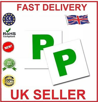 2 X Fully Magnetic Passed Pass New Driver Green P Plate Plates For Car Vehicle • 2.49£