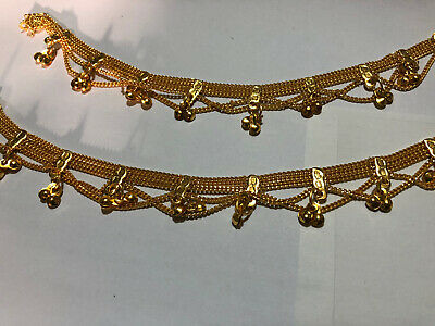 £5.99 • Buy White Pearl 22CT Gold Stunning Pair Of Anklet Payal Chain Crystal Stones W/Bells