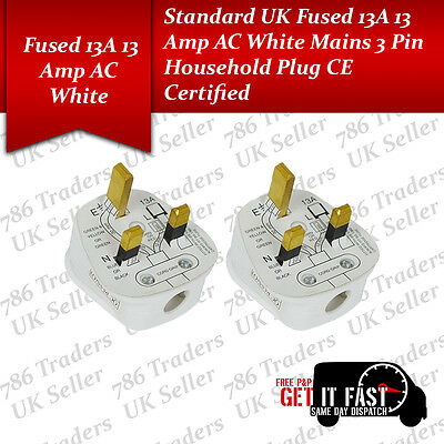 LOT Of 13A UK Standerd 13 AMP AC Fused Mains 3 Pin Household Plug CE Certified • 14.99£