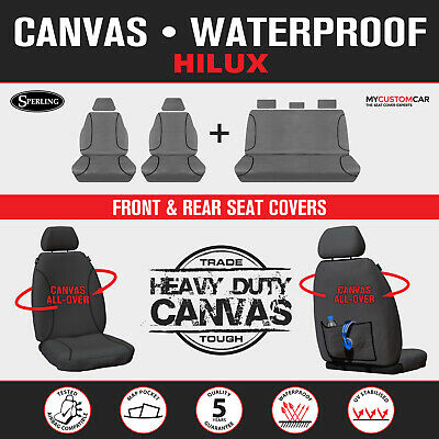AU299.20 • Buy For Toyota HiLux Dual Cab 2009-2015 TRADIES Grey Canvas Seat Covers