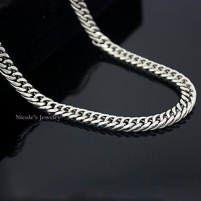 AU12 • Buy Super Cool Stainless Steel Silver Double Curb Cuban Link Chain Necklace Mens