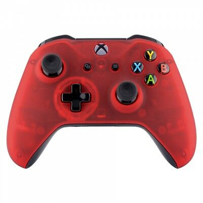 $15.99 • Buy For Xbox One S X Controller Foggy Clear Red Soft Touch Top Faceplate Shell Cover