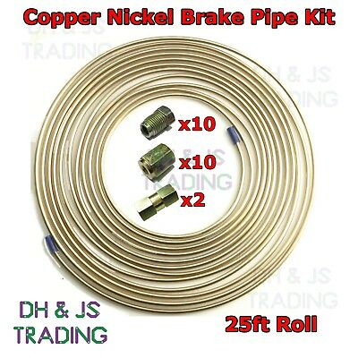 Copper Nickel Brake Pipe Hose Kit 25ft 10 Male & 10 Female Nuts Joint 3/16 Union • 19.95£