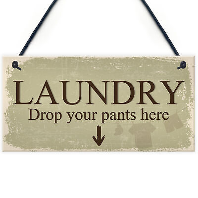 Funny Laundry Room Sign Shabby Chic Hanging Plaques Home Wall Decor Mum Gifts • 3.99£