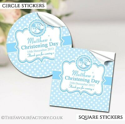 Christening Favours Stickers Personalised Blue Booties Gloss 1x A4 Sheet • 2.40£