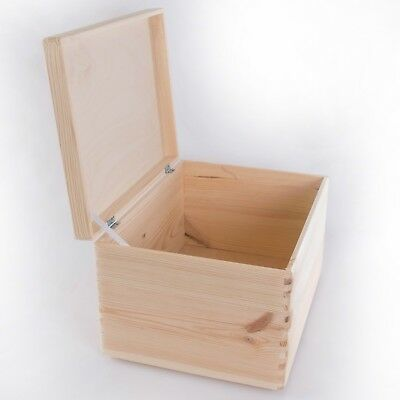 Large Wooden Storage Box With Lid /Plain Pinewood Toy Trunk Decorate 40x30x24 Cm • 26.95£