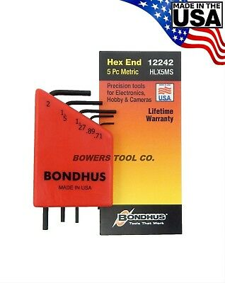 $ CDN9.67 • Buy Bondhus 5pc Micro Mini Hex L Wrench Set Metric 2mm To .71mm Made In USA 12242