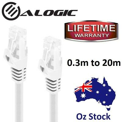 AU6.95 • Buy WHITE Network Cable CAT6 1000Mbps Lifetime Warranty 0.3m To 5 Meters / Oz Stock