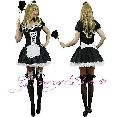 £30.97 • Buy French Maid Outfit Fancy Dress Costume Plus Size Waitress Women FREE Hat Duster