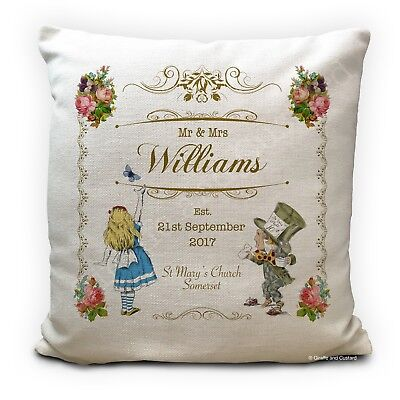 Personalised ALICE IN WONDERLAND Wedding Gift Vintage Style Cushion Cover 16  • 11.99£
