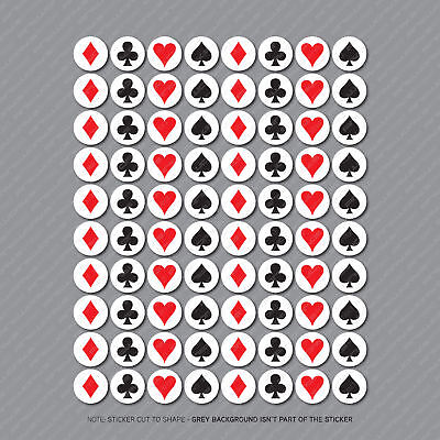 £2.99 • Buy 80 X Playing Card Suit Stickers For Cards Decoration Glass Decals - 25mm - 2940