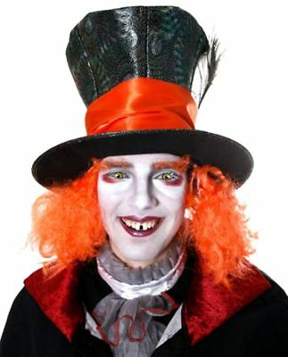 Mad Hatter Large Top Hat With Orange Hair Adults Fancy Dress • 11.99£