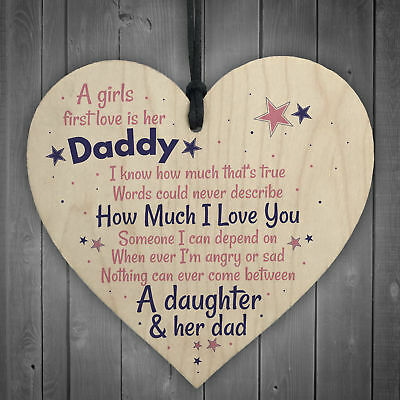 £3.99 • Buy First Love Daddy Fathers Day Dad Gift From Daughter Hanging Wood Heart Sign