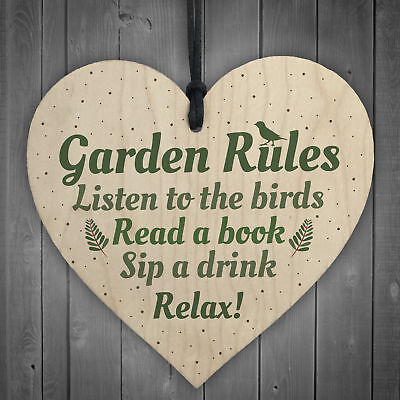 £3.99 • Buy Garden Rules Wooden Hanging Heart Plaque Garden Shed Friendship Gift Wall Sign