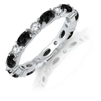 £61.70 • Buy Oval Black Onyx CZ Eternity Stackable And Round Clear CZ Genuine Silver Ring