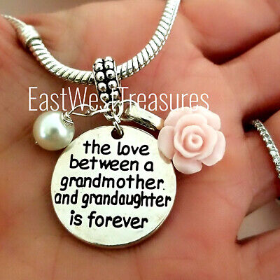 Grandmother Granddaughter Love Charm Bracelet Necklace Jewelry Gift For Grandma  • 32.18£