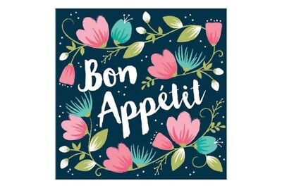£4.62 • Buy Bon Appetit Lunch Napkins Blue Floral French Party Table Decoration Italian