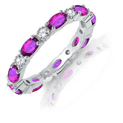 £71.87 • Buy Oval Alexandrite W CZ Eternity Stackable And Round Clear CZ Genuine Silver Ring