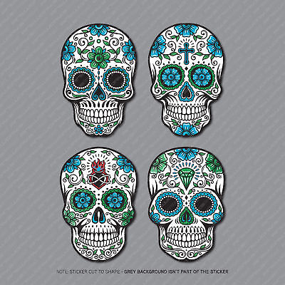 4 X Mexican Sugar Skull Flower Vinyl Stickers Decals Car Van Laptop - 2966 • 2.99£