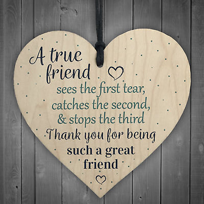 £3.99 • Buy Friendship Gift Best Friend Sign Wooden Hanging Heart Thank You Gift Plaque