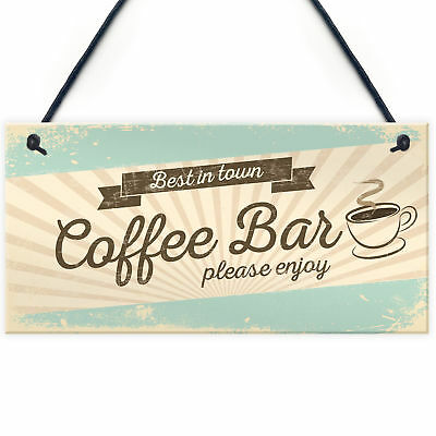 £3.99 • Buy Coffee Bar Hanging Wall Plaque Home Decor Kitchen Cafe Sign Gifts For Women