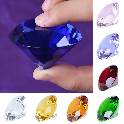 $7.49 • Buy 50mm Crystal Paperweight Glass Art Large Giant Diamond Decor Centerpiece Gifts