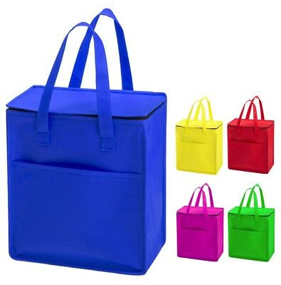 £6.99 • Buy Large & Bright Non Woven Zipped Insulated Cooler Bag Thermal Cool Lunch Picnic