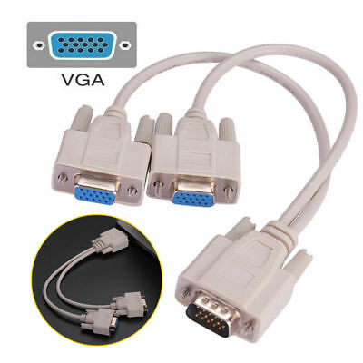 1 PC To 2 Way VGA SVGA Monitor Y Splitter Cable Lead 15Pin Male Female LCD TFT • 2.79£