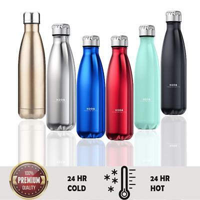 AU19.60 • Buy Insulated Water Bottle Thermal Double Wall Drink Vacuum Flask 350-500ml Hot Cold
