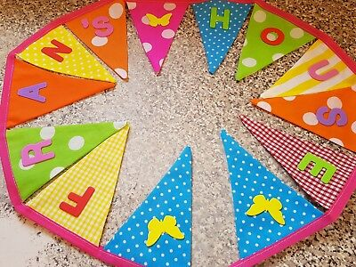 £1 • Buy Personalised Bunting- Lovely Bright Colours & Butterflies -£1 Per Flag, Free P&p