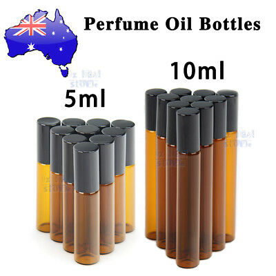 AU8.59 • Buy 5-100PCs Roller Rollerball Perfume Essential Oil Roll On Ball Amber Glass Bottle