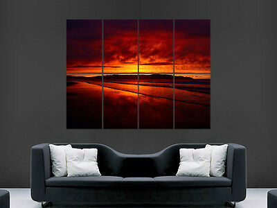 £17.99 • Buy Red Sunset Poster Beach Ocean Sea Sand Paradise Image Art Wall Large Giant