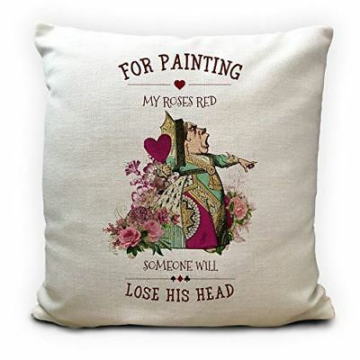ALICE IN WONDERLAND Cushion Cover Queen Of Hearts Roses Quote Home Decor Gift  • 11.99£