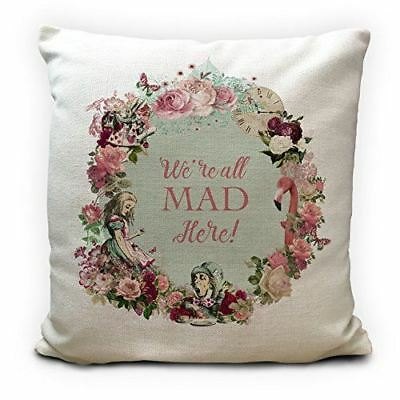 ALICE IN WONDERLAND Cushion Cover - Vintage Style Gift Were All Mad Here 16 Inch • 11.99£