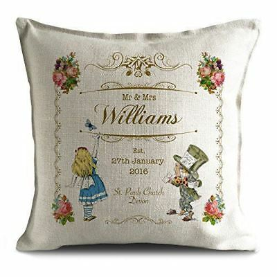 Mr And Mrs Personalised Alice In Wonderland Wedding Cushion Cover Gift Valentine • 11.99£