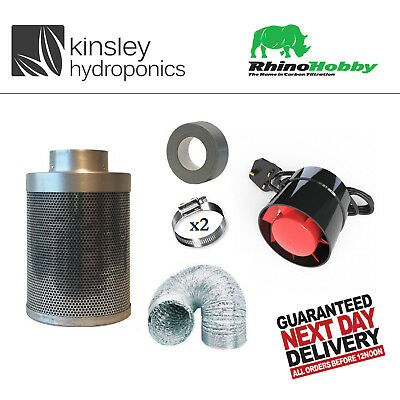 Rhino Hobby Carbon Filter Kit Odour Extraction Fan Aluminium Ducting Hydroponics • 73.99£