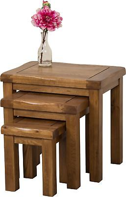 Cotswold Solid Oak Wood Nest Of 3 Coffee Side End Tables Living Room Furniture • 159£
