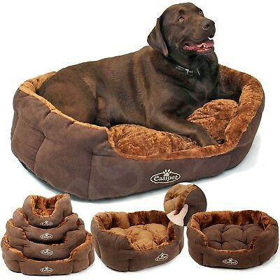Dog Bed Pet Cat Puppy Deluxe Faux Fur Washable Fleece Cushion S M L XL Easipet • 18.99£