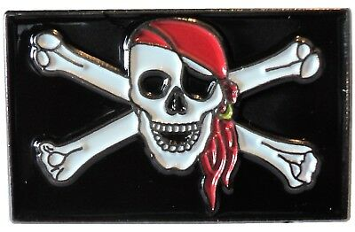 Jolly Roger Pirate Skull & Crossbones Death Biker Rocker Metal Motorcycle Badge • 2.69£