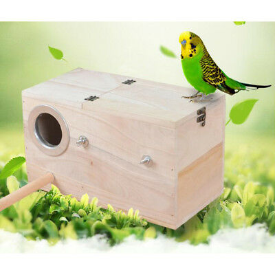 Wooden Budgie Nest Nesting Box & Perch For Cage Aviary With Opening Top • 10.69£