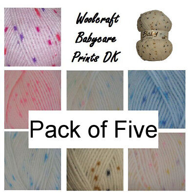 5 X 100g Woolcraft Baby Prints Wool Babycare DK Double Knitting & Crochet Yarn • 12.99£