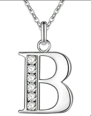 £4.99 • Buy INITIAL B NECKLACE LETTER NAME PENDANT SILVER CRYSTAL 18inch CHAIN NEW
